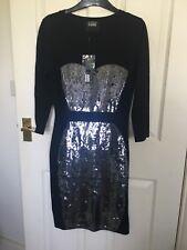 BNWT Markus Lupfer black 100% merino wool dress with sequins Bodycon XS