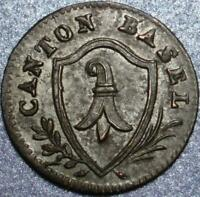 1810 CANTON of BASEL in SWITZERLAND Really CHOICE Silver BATZEN 2-Year ONLY TYPE