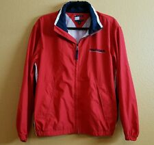 TOMMY HILFIGER MEN RED FULL ZIP UP FRONT LONG SLEEVE LOGO JACKET SIZE SMALL