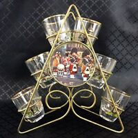Klassisch Shot Gläser Glas Set Metall Rack Ständer Schottland Souvenir Scottish