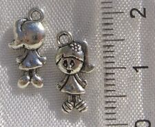 10 BRELOQUES PENDENTIFS PERLES FILLE 15X7MM METAL ARGENTE charms girls  *B5