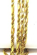 """Solid 22K 916 Yellow Gold Necklace bar Twisted Rope figarope 24"""" india"""