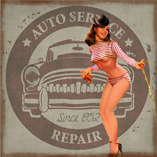 "Vintage Pin-up Girl Retro Style 1950s Auto Service Sign -17""x22"" Art Print-00068"