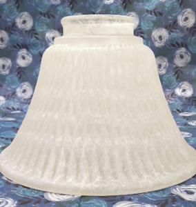 """Bell Shaped Ribbed Frosted Glass Lampshades 4.5"""" Ivory Cream Light Covering New"""