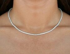 "3mm Emerald Cut Womens 16"" Tennis Necklace with Swarovski Crystals Italian Made"