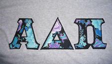 Alpha Delta Pi Gray Tee T-Shirt Medium Sewn Letters Blue Purple Floral Print New