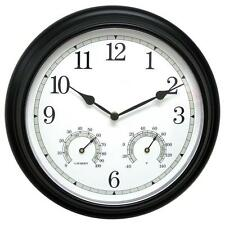 Durable Black 14 in. Metal Wall Clock with Analog Thermometer and Hygrometer
