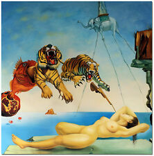Gala and the Tiger - Hand Painted Salvador Dali Repro Oil Painting On Canvas