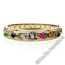 Antique Victorian 14k Gold & Silver Open Work Gemstone & Diamond Flower Bracelet