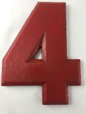 "Vtg Wagner Sign Red Number ""4"" Marquee Display Aluminum Hanging Industrial Deco"
