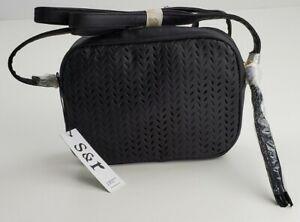 Summer and Rose Delilah Crossbody Purse Handbag Perforated Leaf Black NWT