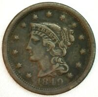1849 Braided Hair US One Cent Penny Coin 1c Copper Coin Fine Large Cent