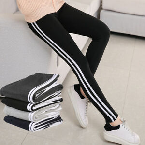 Womens STRIPES Joggers PACK OF 2 Active Sports Tracksuit Bottom Slim Trouser UK