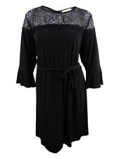 Michael Michael Kors Women's Plus Size Lace-Trim Fit & Flare Dress (3X, Black)