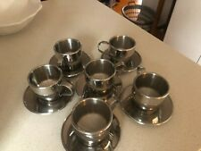 Set of 6 stainless steel Long Black/Cappuccino cups and saucers