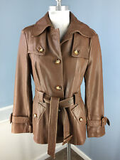 Neiman Marcus L Brown genuine Leather Trench Coat Jacket Women's
