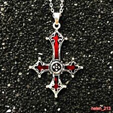 Red Bloody Inverted Cross Pendant Necklace Gothic cross Lucifer Satanism jewelry