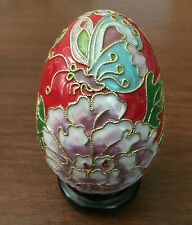 Chinese Vintage Handmade Red Cloisonne Enamel Brass Copper Egg with Wood Stand