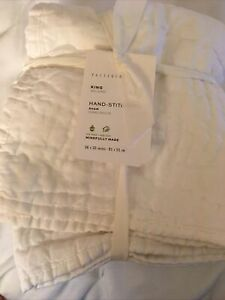 NWT! Pottery Barn Belgian Flax Linen Hand-Stitched Quilted Sham/King/White/$79.5