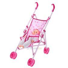Dolls Buggy Stroller Pushchair Pram Foldable Girls Toy Doll Pram Baby Doll Gifts