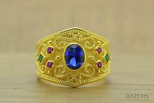 Byzantine Etruscan Ring Sapphire Emerald Ruby Sterling Silver 22K Gold Plated