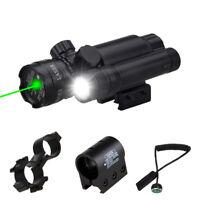 100lm  Flashlight 532nm Green Dot Laser Sight Set fit 20mm Weaver Rail Hot~
