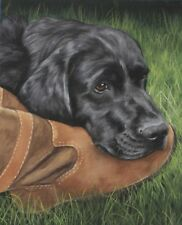 STUNNING BLACK LABRADOR DOG PAINTING CANVAS PICTURE WALL ART LARGE 20x30 INCHES