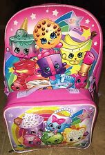 NWT Shopkins Girls Sparkles/Glitter Pink School Backpack & Lunch Box Book Bag