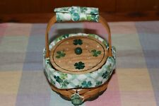 Lucky You Longaberger Basket & my hand painted lid, liner, protector, handle gri