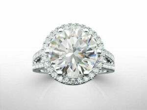 4.10 CT CZ Round Cut Split Shank Halo Engagement Band Ring 925 Sterling Silver