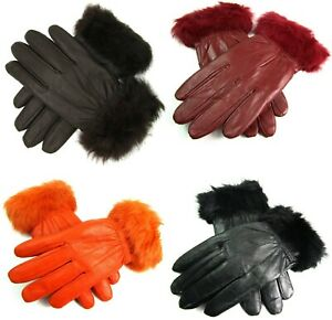 New Ladies Womens Genuine Super Soft Leather Faux Fur Trim Gloves Lined Winter