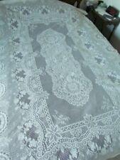 "New Unused Vintage 100x62"" Quaker Type lace Floral tablecloth Cotton Blend White"