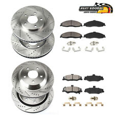 For 2005 - 2010 Ford Mustang Front+Rear Drill Slot Brake Rotors And Ceramic Pads