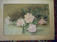 LATE VICTORIAN EDWARDIAN WATERCOLOR IMPRESSIONISTIC FLORAL STILL LIFE PAINTING