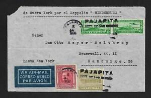 ZEPPELIN GUATEMALA TO GERMANY AIR MAIL COVER 1936 SCARCE