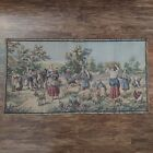Vintage Belgium Woven Tapestry Wall Art 37 1/2 x 19 1/2 Wall Hanging of Peasants