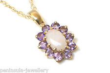 9ct Gold Opal and Amethyst Pendant and Chain Gift Boxed, Made in UK