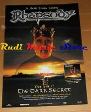 POSTER metal PROMO RHAPSODY THE DARK SECRET 84 X 59,5 cm NOcd dvd vhs lp live mc