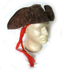 Pirate Captian Hat Brown Faux Leather Adult Halloween Costume