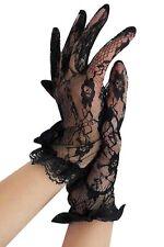 Edle Kurze Handschuhe Spitze Gothic Karneval Fasching Abendhandschuh Stulpen 202