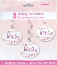 Hanging Pink Bunting Christening Decorations, Pack of 3