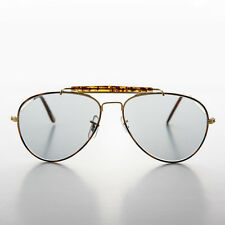 Aviator Vintage Sunglass with Transition Lens Tortoise Brow Bar - Spruce