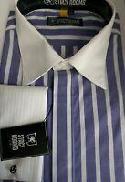 STACY ADAMS AMETHYST  Men's Big-Tall FRENCH CUFF Dress Shirt SIZE 19  38/39