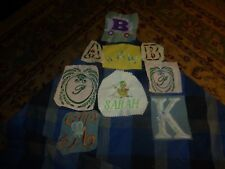 Vintage Homemade Sarah Misc Letters Embroidery Remnant Patch Lot Of 10 Unique