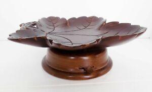 Vintage Reuge Music Box Rotating Black Forest Carved Wood Grape Leaf  Germany