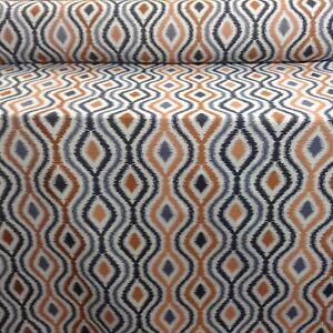 Verrusio Batik  Blue/ Copper Spice Jacquard Curtain/Upholstery Fabric