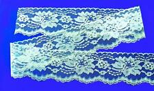"""Blue 3 3//4/"""" or Mint Green 3 1//2/"""" W Flat Lace Polyester Sewing Trim Per 10 Yards"""