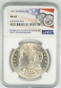 MS62 GRADED - 1921 Morgan Silver Dollar- NGC *533