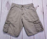 Boys Wrangler Cargo Shorts New Putty 3 left size 14Husky Adjustable Waist
