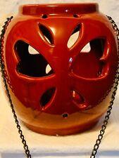"Red 6"" Butterfly Tealight Votive Lantern Light Ceramic Decor w/chain"